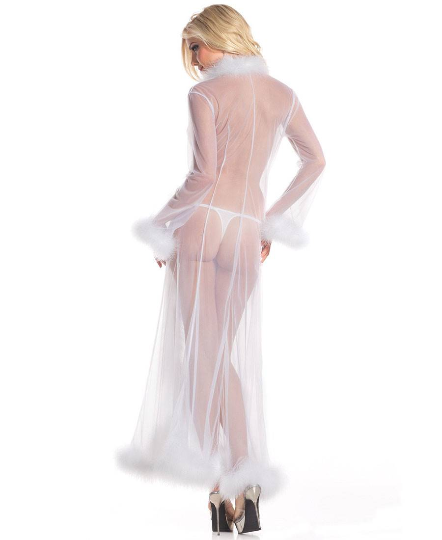 171b13609c7fb Marabou-Feather-Long-Robe-Be-Wicked-BW1650 thumbnail 9