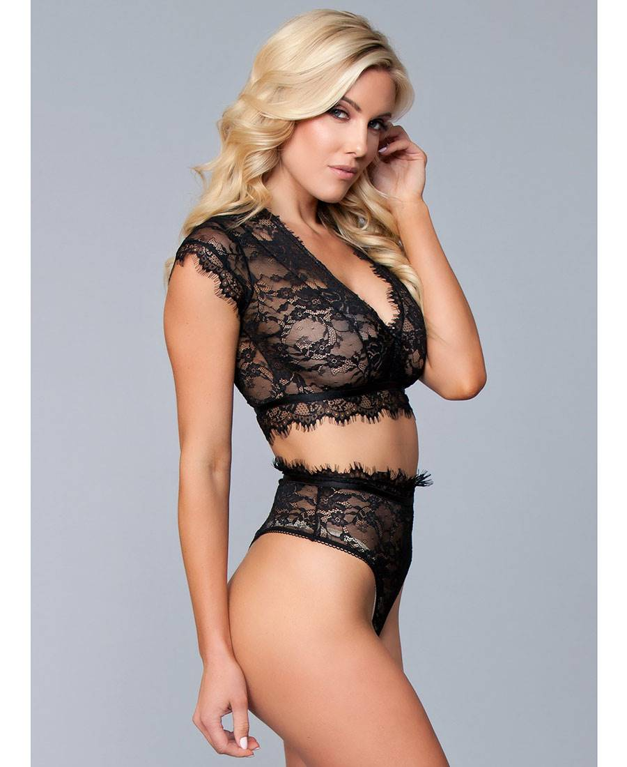 Crop Be Top Thong And Lace Wicked Eyelash Bw1789 Set T1UcSqnn7