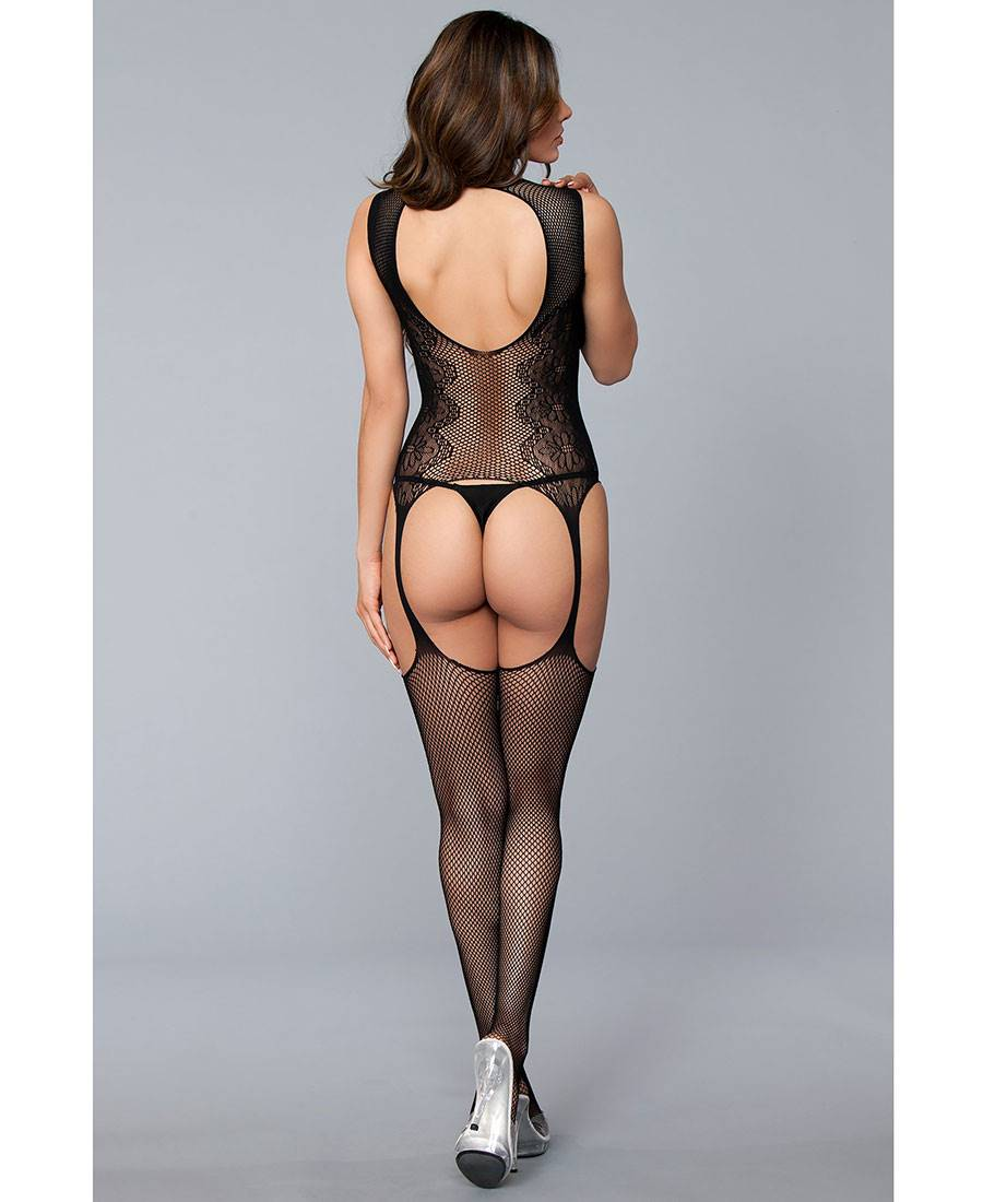 e81345789 New Be Wicked BWB122 Fishnet And Lace Suspender Bodystocking