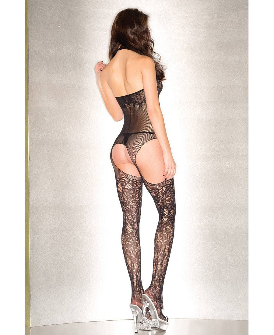 New Be Wicked BWB91B Floral Fishnet Suspender Bodystocking