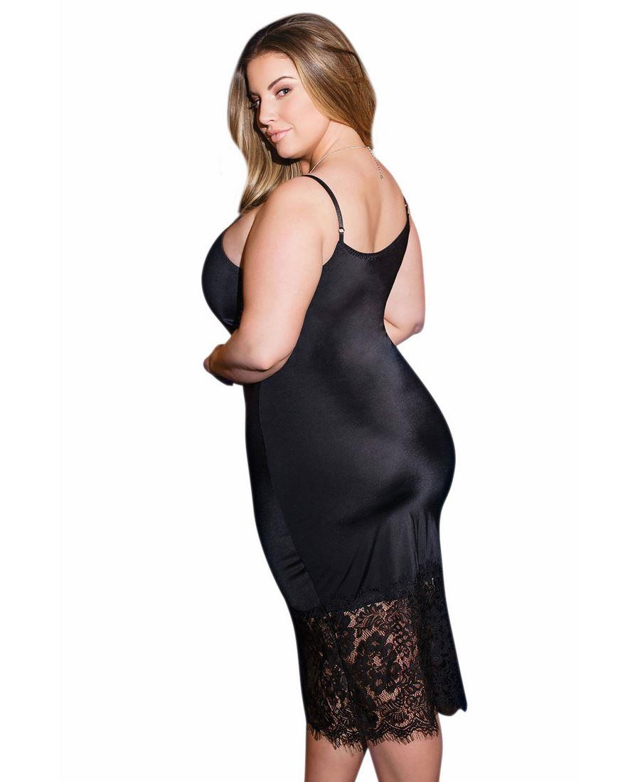 be194b1698 Plus Size Mid-Length Slip And Lace Trim Chemise Dress - Coquette ...