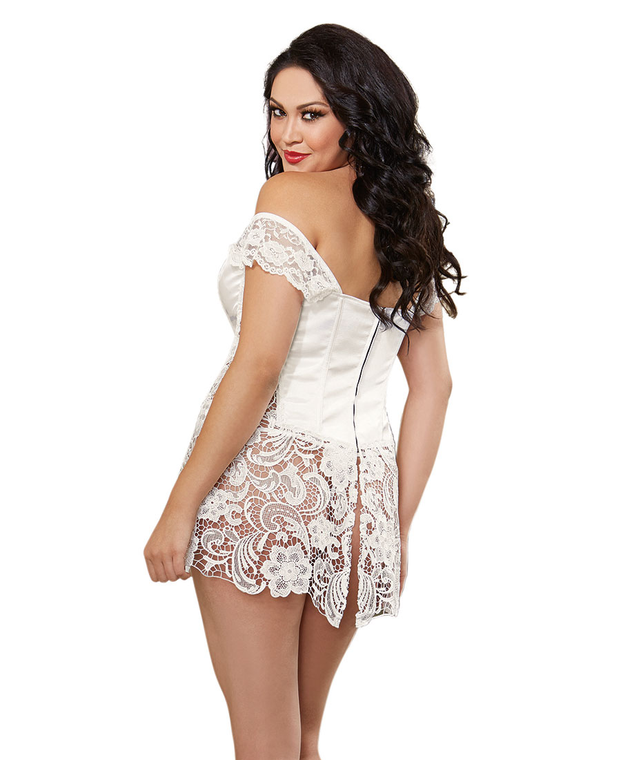 New Dreamgirl 10028X Plus Size Satin And Venice Lace Corset And Thong