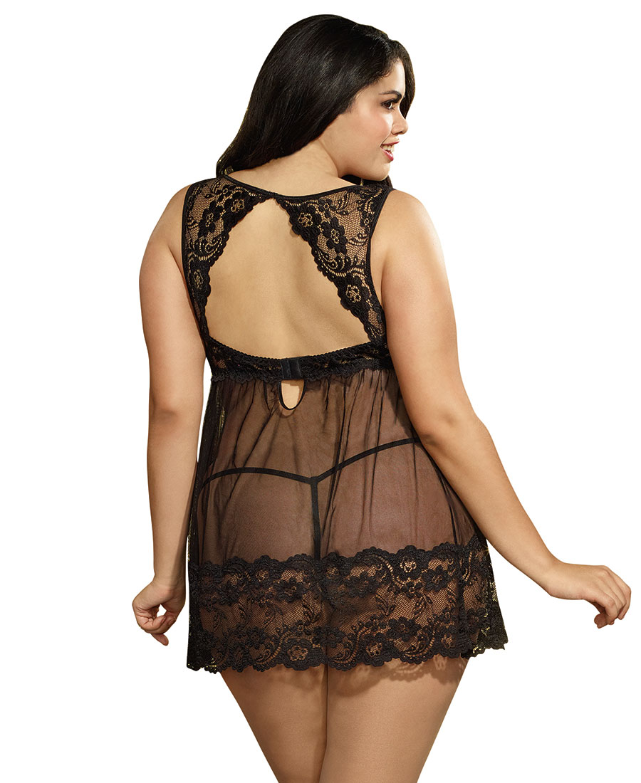8a71a4156fd4c New Dreamgirl 10463X Plus Size Lace And Mesh Babydoll And G-String ...
