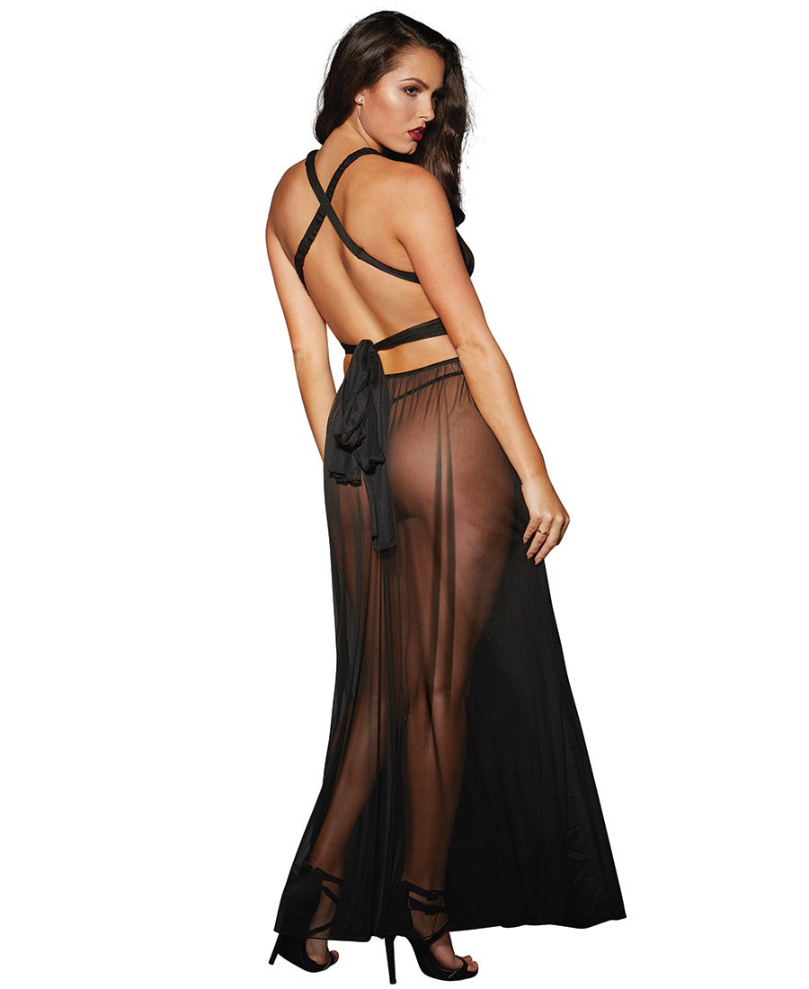Dreamgirl 10593 Romantic Sheer Gown And Panty