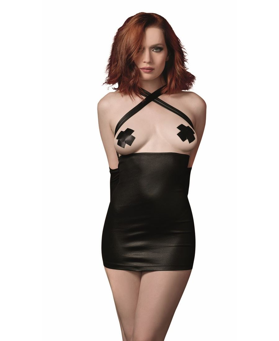 Faux-Leather Chemise With Attached Restraints Dreamgirl 11052