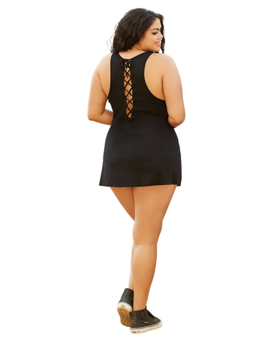 New Dreamgirl 42014X Plus Size Lace-Up 420 Chemise