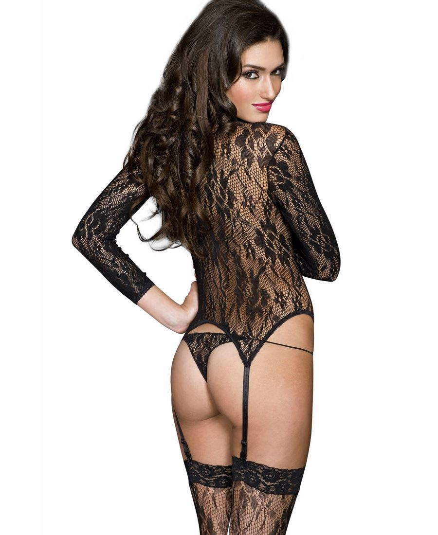 Lace Turtle Neck Garter Cami And Thigh High Stockings Music Legs 2874