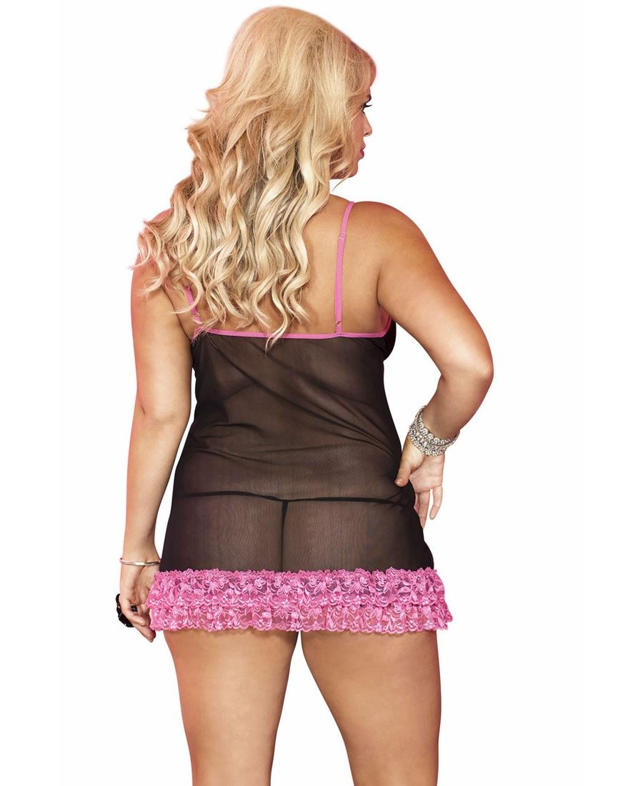 Plus-Size-Soft-Mesh-Chemise-With-Ruffle-Trim-And-G-String-Music-Legs-56133Q thumbnail 3