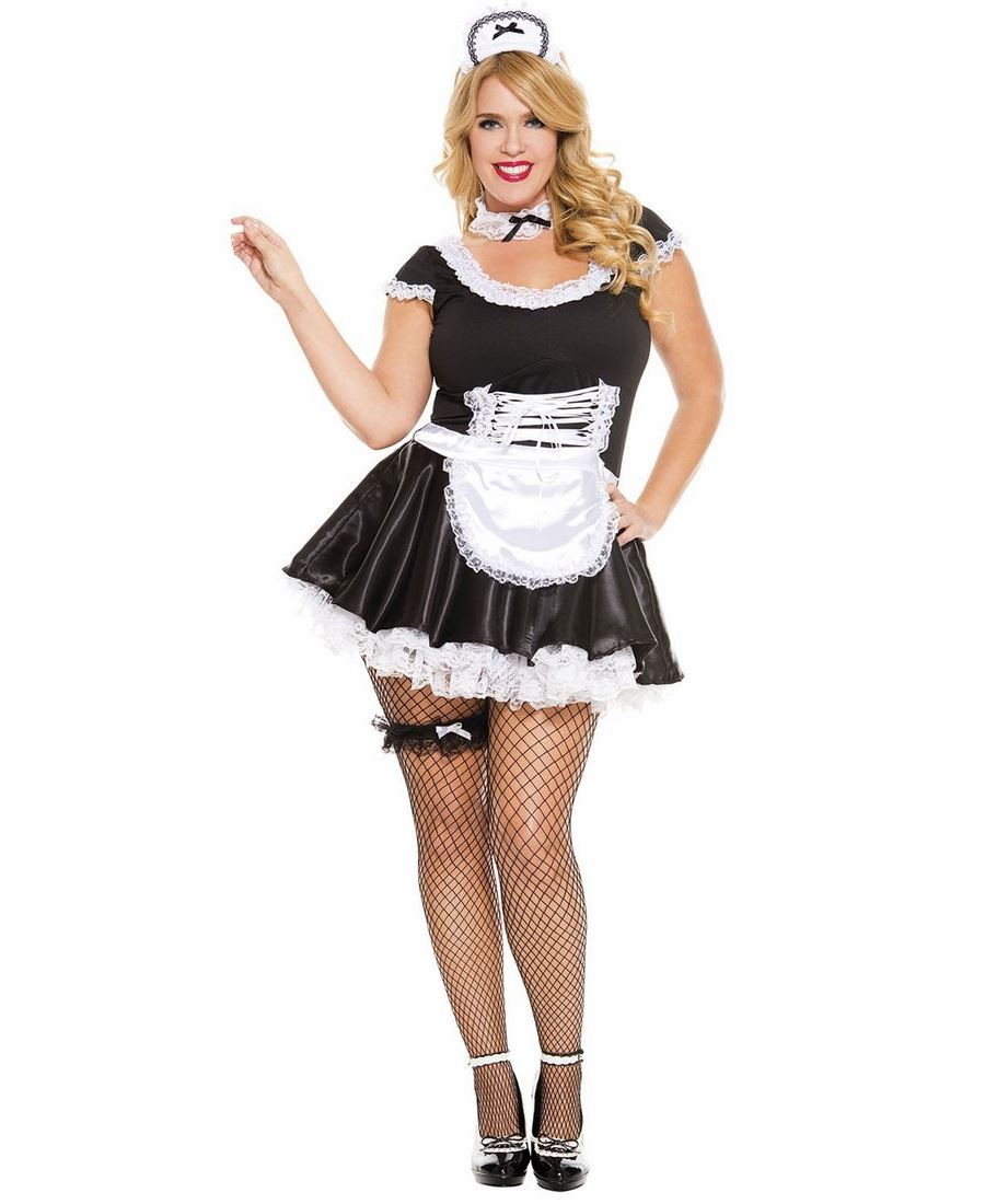 New-Music-Legs-70133Q-Plus-Size-Lace-Trimmed-  sc 1 st  eBay & New Music Legs 70133Q Plus Size Lace Trimmed French Maid Costume | eBay