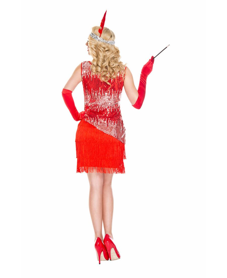 Music Legs 70595-R Red Sequin Sparkly Fearless Flapper Costume