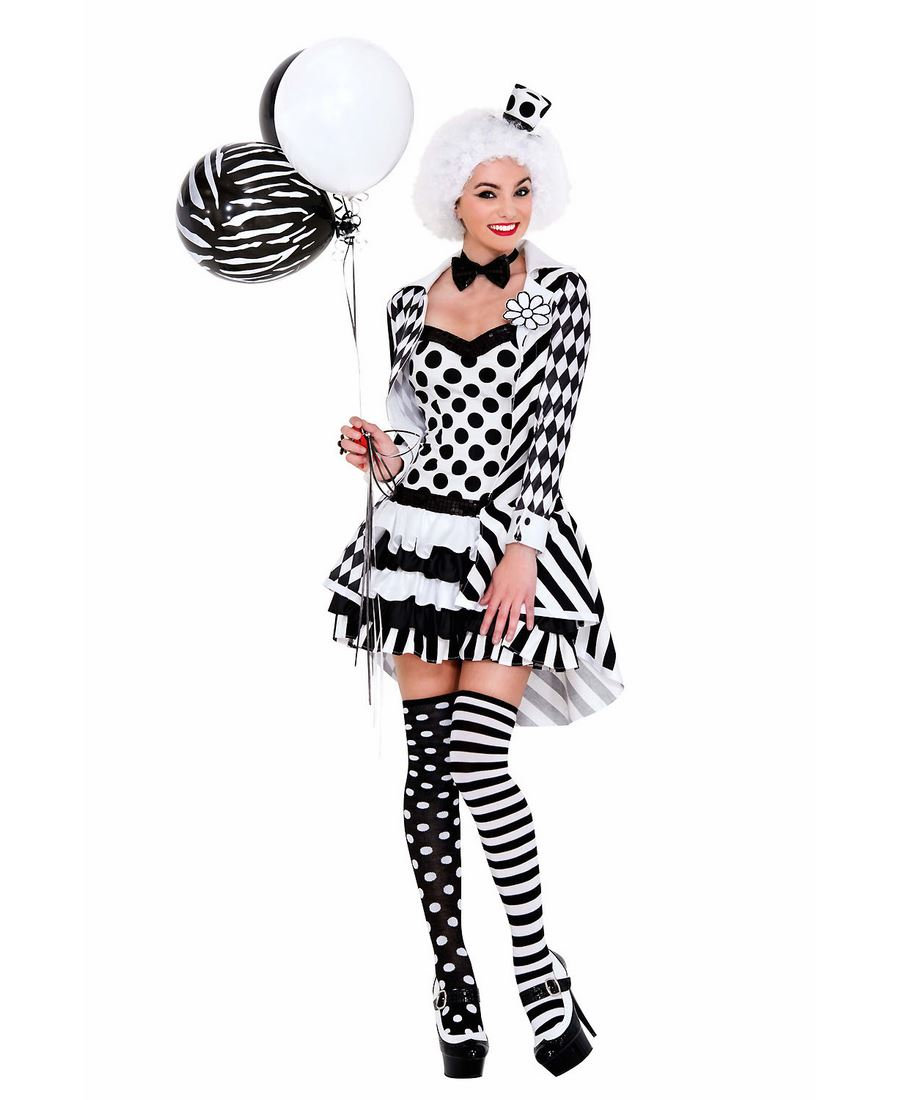 Black-And-White-Clown-Costume-Music-Legs-70639  sc 1 st  eBay & Black And White Clown Costume - Music Legs 70639 | eBay