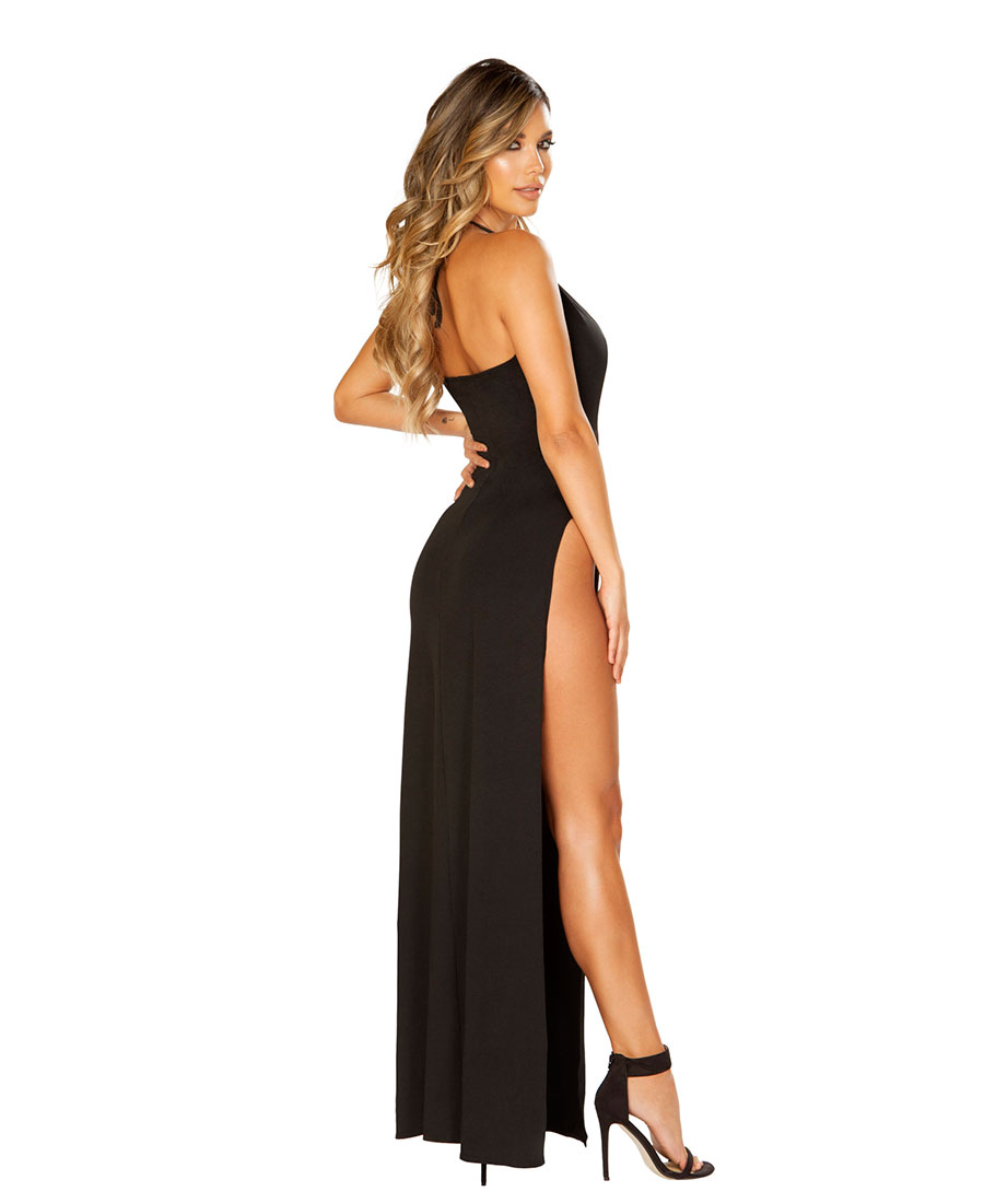 Roma Costume Maxi Length Satin Dress with High Slits /& Deep V