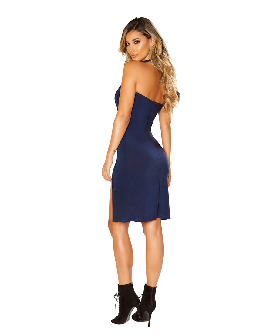 ee5558c8bec New Roma Costume 3661 Navy Mini Dress With High Front Slits   eBay